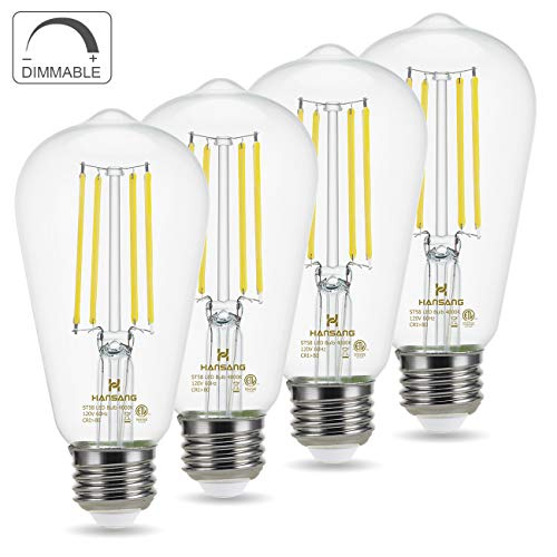 Pack of 10 8.5W Led Filament Light Bulbs E26 Medium Base Vintage Decorative Clear Glass for Home Office Cafes 800LM 5000K Daylight White Dimmable A19 LED Edison Bulb 60W Equivalent