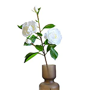 Skyseen 1Pcs Silk Gardenia Artificial Flower Wedding Decorative for Home Decoration (White)