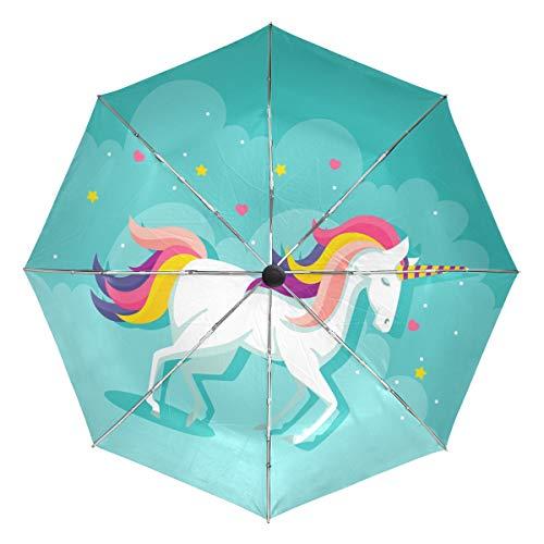MALPLENA - Paraguas automático de Unicornio para Hombre y Mujer, Ideal para Regalo, Unisex Adulto, MN-331, 9, Talla única