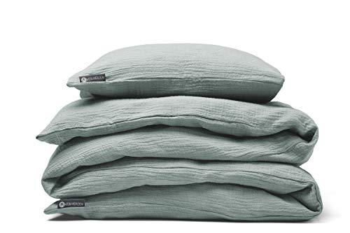 Musselin Bettwäsche – Bio-Baumwolle – Decke – Kissen – Reißverschluss – für Erwachsene – 135x200, 135x220, 155x200, 155x220 (135x200 / 80x80, Mint)