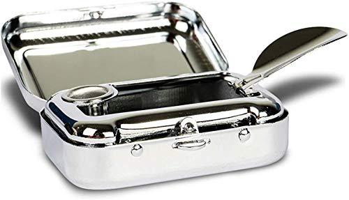 Mini cenicero/Cenicero de Bolsillo/Cenicero para Viajar de Metal, Caja Rectangular, con Soporte de cigarillos, Plateado
