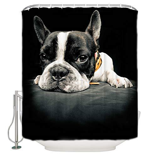 Infinidesign Dog Lover ShowerCurtainforBathroomwith12Hooks,PolyesterFabricMachineWashableWaterproofShowerCurtains60x72inch, Lovely French Bulldog Animal Photography