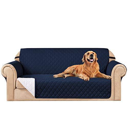 subrtex Funda de sofá Reversible Acolchada para 1,2,3 plazas Funda de Silla Antideslizante para Mascotas y niños con Correas Elásticas Protector de Muebles (3 Plaza, Armada)