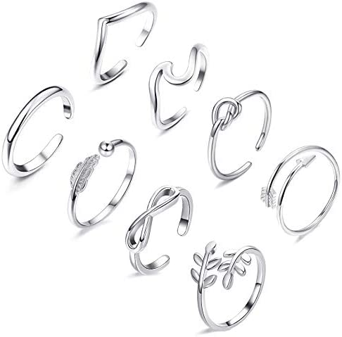 FUNEIA 8PCS Open Rings Set for Women Arrow Knot Wave Rings Stackable Thumb Adjustable Rings product image