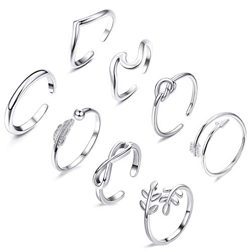 FUNEIA 8PCS Open Rings Set for Women Arrow Knot Wave Rings Stackable Thumb Adjustable Rings Set