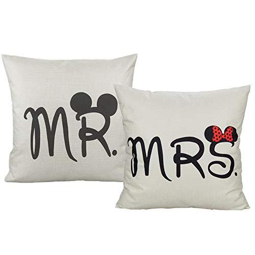 VAKADO - Federa per cuscino con scritta 'Mr & Mrs Amour', 45 x 45 cm, ideale come regalo per matrimonio, famiglia, per divano, camera da letto, set di 2