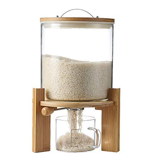Dispensador de arroz, recipiente de cereales hermético, recipiente de vidrio para organización de cocina y almacenamiento de alimentos, recipientes herméticos para cereales con tapas y taza medidora