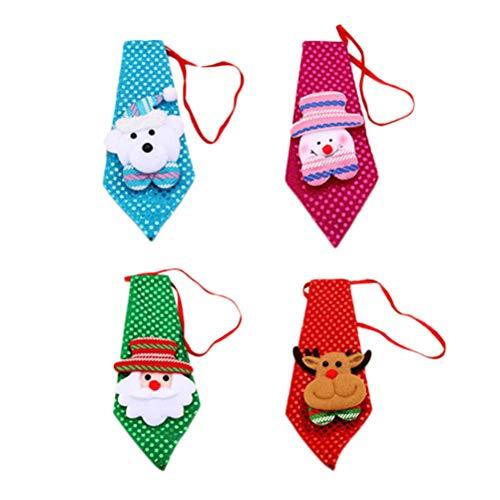 Toyvian 4pcs Corbata de Navidad Decoraciones de Lazo Árbol de Navidad Colgante Pequeño Regalo para Niños Adultos