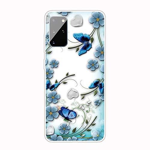 Miagon Funda transparente para Samsung Galaxy M51, azul flor mariposa patrón creativo dulce transparente suave ultra fina silicona Case Cover Protector
