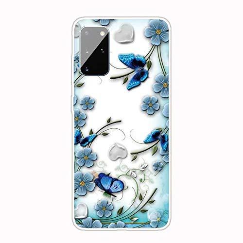 Miagon Transparent Hülle für Samsung Galaxy A51,Blau Blume Schmetterling Muster Kreativ Süße Durchsichtig Klar Soft Ultra Dünn Silikon Case Cover Schutzabdeckung