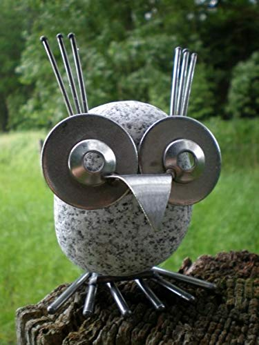 Manufaktur-Lichtbogen Edelstahlvogel Eule Gartendekoration Gartendeko Edelstahl Steinvogel
