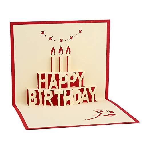 Vegena Hochzeitskarte 3D Glückwunschkarte, Hochzeitskarten Glückwunsch Einladung Geburtstagskarte Geschenkkarte Pop Up mit Umschlag für Geburtstags Muttertags Hochzeit Valentinstag-Happy Birthday