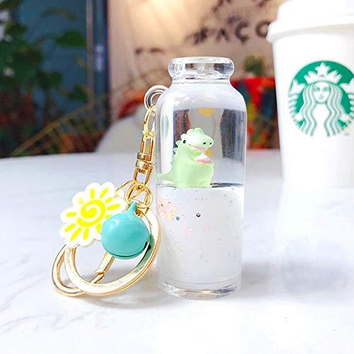 Un ciondolo a catena con chiave del latte galleggiante e a catena con collane a catena a catena per le ragazze, M69 - bottiglia di latte - piccolo dinosauro