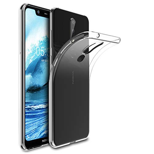 KuGi Cover Nokia 5.1 Plus, Nokia 5.1 Plus Custodia Trasparente Silicone Cover Morbida TPU Caso, Anti Scivolo& Anti-Urto Case per Nokia 5.1 Plus(Trasparente)