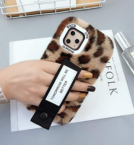 Losin Plush Case Compatible with Apple iPhone 11 Pro Max 6.5 inch Fashion Fuzzy Furry Winter Rabbit Hair Warm Plush Fluffy Fur Cute Lovely Leopard Cheetah Pattern Handstrap Soft TPU case