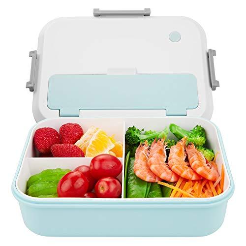 Thousanday Fiambreras para Niños   Lunch Box Azul 2 Cubiertos de Regalo   Fiambrera Bento con 3...