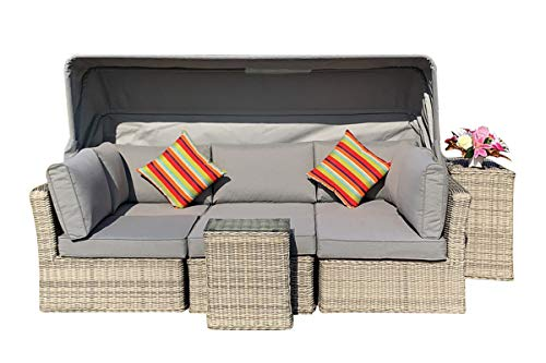 Rattan Furniture Fairy Cambridge Canopy Sofa Daybed Set with Ice Bucket Side Table in a Natural Mixed Grey Round and Half Round Weave