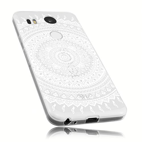mumbi Hülle kompatibel mit LG Nexus 5X Handy Hülle Handyhülle mit Motiv Mandala Weiss, transparent