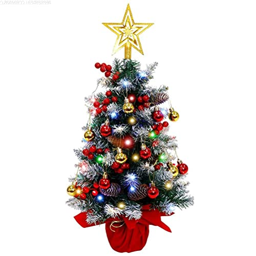 Kehyes Mini albero di Natale artificiale con luci a LED e 24 sfere decorative per camera da letto, cucina, ufficio