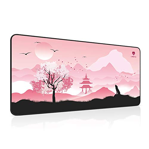 Extended Gaming Mouse Pad, LANGTU Large XXL Mouse Mat with Stitched Edge, Pink Desk Mat for Computer Keyboard, Laptop & PC, Non-Slip Natural Rubber Base