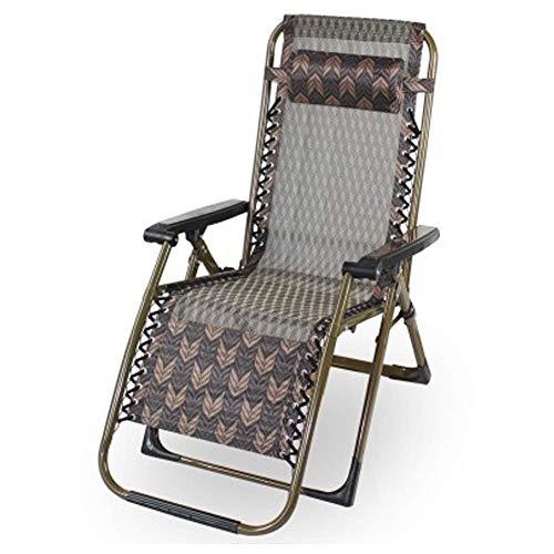 AWJ Sillón reclinable Plegable Zero Gravity, sillones de Aluminio con Almohada, sillones Ajustables para salón al Aire Libre, Playa, Negro