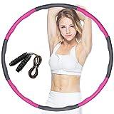 dowowdo Hula Hoop - Pneumatico per fitness, con corda per saltare e massaggiare, per adulti e ragazzi, colore rosa e grigio