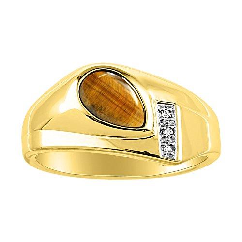 Atemporal con forma de pera & de ojo de tigre natural anillo de diamante amarillo oro chapado en plata 925