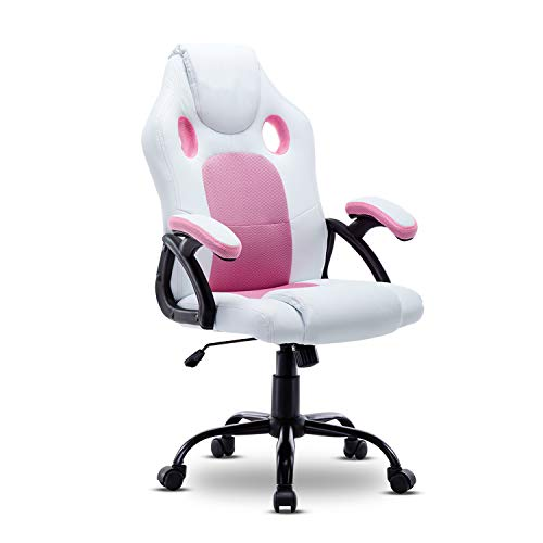 Gaming Chair High Back Computer Chair Office Chair Racing Executive Ergonomic Adjustable Swivel Task Chair Leather Desk Chair Pink