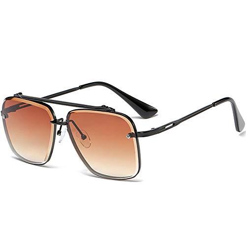 SHEEN KELLY Gafas de sol de metal retro Gafas de sol cuadradas sin montura vintage Moda para hombres Protección 100% UV400 para exteriores