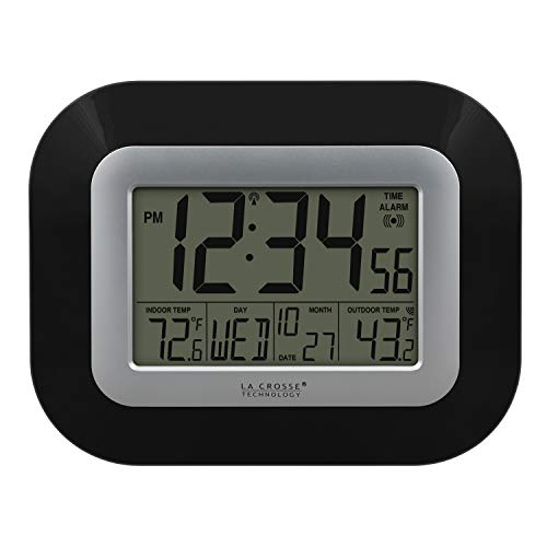 La Crosse Technology WS-8115U-B Atomic Digital Wall Clock with Indoor...