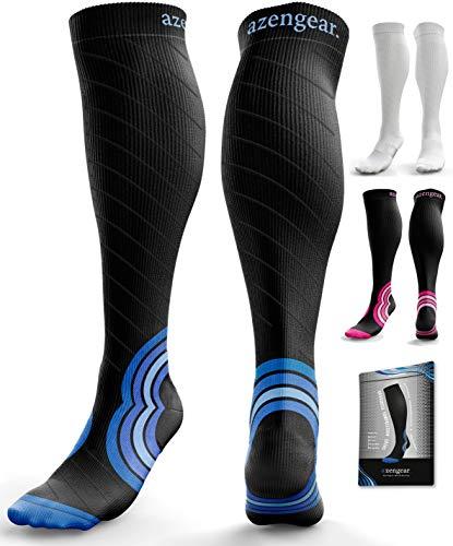 Compression Socks for Men & Women (20-30 mmHg) - Anti DVT Stockings - Varicose Veins - Running - Nurses - Shin Splints Calf Pressure Support - Pregnancy - Flight Travel - S/M