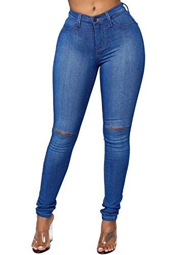 Feditch Women's Juniors Basic Ripped Distressed Stretchy Fit Skinny Jeans with Pockets Dark Blue Medium