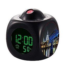 QCNZ1 Projection Kids Alarm Clock, LED Clock Digital LCD Talking, Alarm,Temperature 396.St Pauls Cathedral Wrist Clock Kitchen Bedroom Living Room Home Decor Projector Wall
