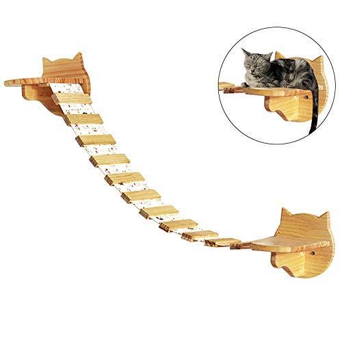 UNIQUEEN Katzen-Kletterwand Katzenleiter Katzentreppe Hängebrücke Kratzbaum/Katzenbaum für die Wand (A#)