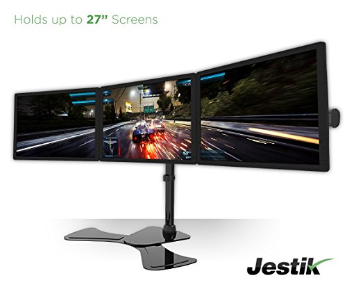 Jestik Arc Triple Monitor Stand - LCD Monitor Stand, Monitor Mount, Triple Monitor Arm - Shift The Way You Work - Holds 3 Screens Up to 27' Monitors, 17.6 lbs Capacity Per Mount