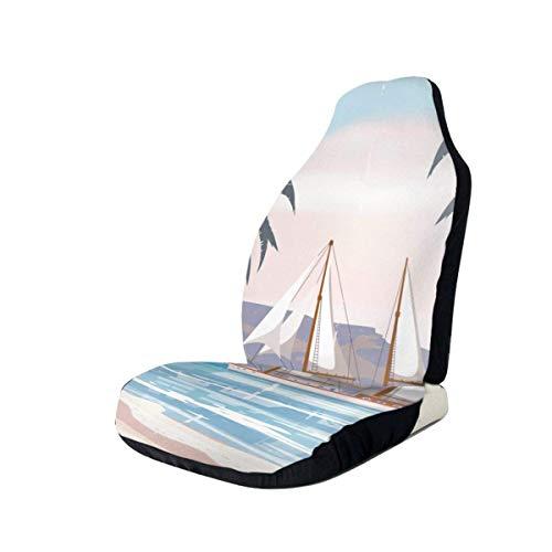 Little Yi Beach Palm Tree Segelboot Autositzbezüge Fahrzeugsitzschutz Universal Autositz Zubehör