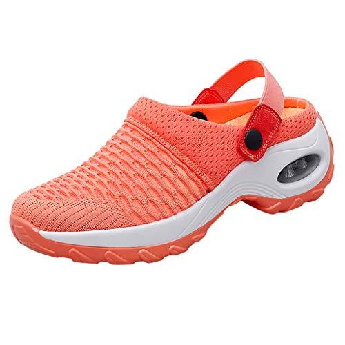 Damen Sandalen Hausschuhe Übergroße Damenschuhe Neue Sets Füße Ultra Light Mesh Schuhe Casual Slipper Schuhe Luftkissen High Heel, Orange, 40 EU