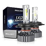 SEALIGHT H4/9003/HB2 LED Headlight Bulbs, 60W 12000 Lumens High Low Beam Conversion Kit, 6000K Xenon White Pack of 2