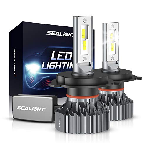 SEALIGHT H4/9003/HB2 LED Headlight Bulbs, 60W 12000 Lumens High Low Beam Conversion Kit, 6000K Xenon White Pack of 2