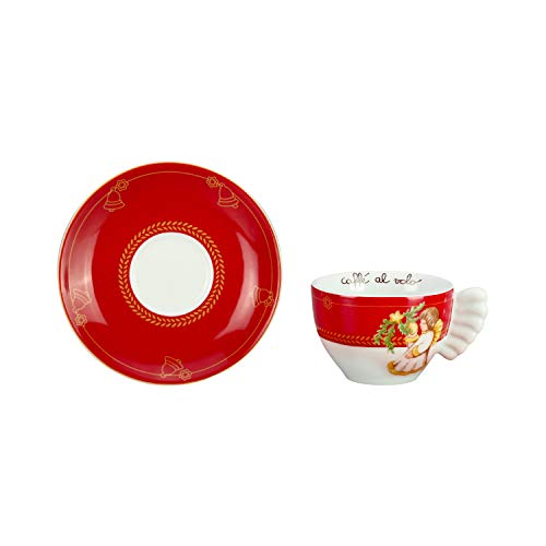 THUN ® - Set 2 Tazze Medie - Linea Dolce Natale - Porcellana - 200 ml