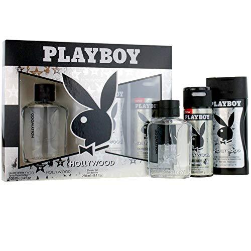 Playboy Hollywood Geschenkset 100ml EDT Spray + 150ml Deodorant Body Spray + 250ml Duschgel