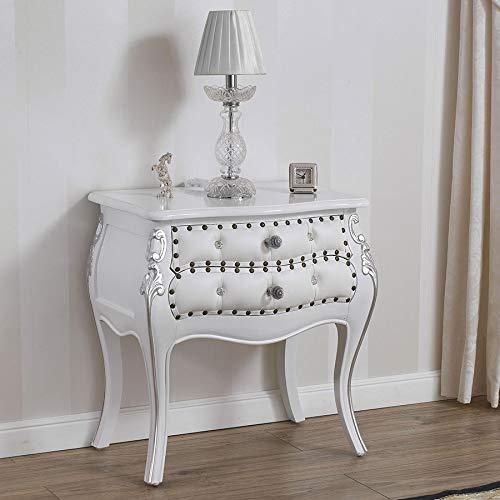 SIMONE GUARRACINO LUXURY DESIGN Table de Chevet bombé Brilliant Style Baroque Moderne Blanc laqué et Feuille Argent Similicuir Blanc Boutons et poignées Crystal SW