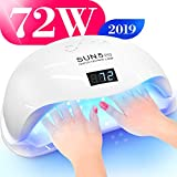 Professional Nail Dryer 72W - SUN 5 Pro Best UV LED Nail Lamp for Fingernail & Toenail Gel Based Polishes – Portable Nail Curing Light with 36pcs LEDs, 4 Timer Settings & Smart Sensor (White)
