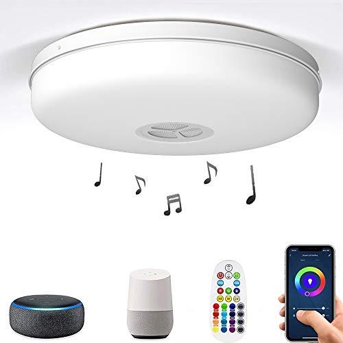 Smart Wifi Plafoniera LED con altoparlante Bluetooth,24W 2400lm RGBW Dimmerabile Lampada da soffitto musicale, cambio colore RGB con telecomando,Supporto per Google Home&Amazon Alexa Controllo vocale