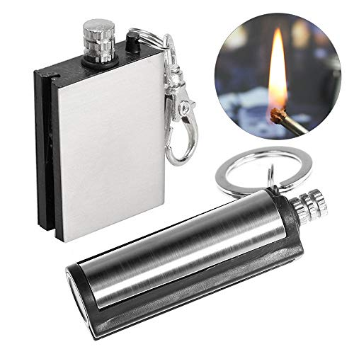Lixada 2 Pack Permanent Match Forever Lighter Emergency Fire Starter Metal Match Lighter Matchbox