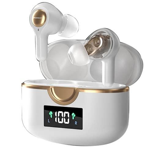 YUNZHI Auriculares Bluetooth SANSUI Auriculares de Música con Reducción de Ruido en La Oreja de Cuatro Altavoces, de Movimiento Dual, Inalámbricos Verdaderos,White