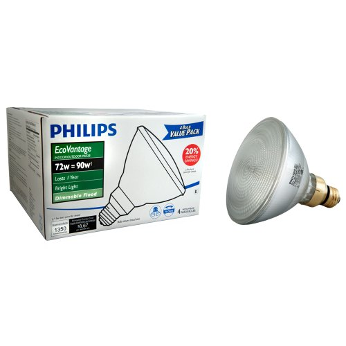 Philips 428805 Halogen PAR38 90 Watt Equivalent Dimmable Flood Standard Base Light Bulb, 4-Pack