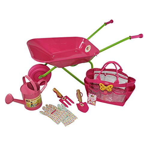 Little Pals Childrens Pink Wheelbarrow & Gardening Tool Set with Watering Can, Gloves, Trowel and Fork in Carry Bag