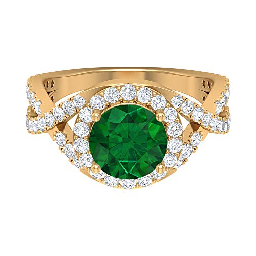 Spiral Shank Engagement Ring, D-VSSI 3 CT Moissanite, 8 MM Emerald Ring, Halo Gemstone Sidestone Ring, Classic Solitaire Ring, Bridal Statement Ring, 14K Yellow Gold, Size:UK N