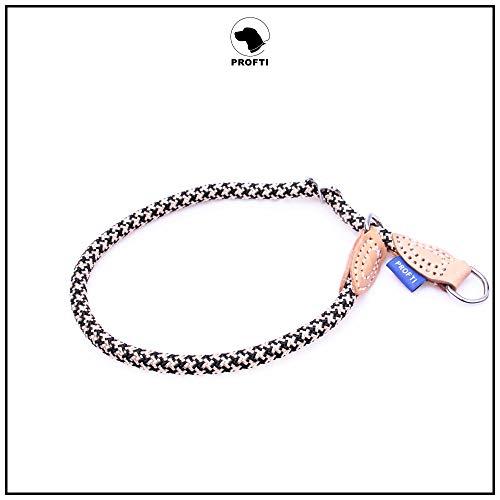 PROFTI Halsband aus Nylon für Hunde, mit Zugstopp, große/kleine Hunde, 1,0x65cm (Schwarz/Beige)